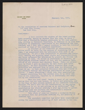 thumbnail image for Gutzon Borglum letter to the Association of American Painters and Sculptors (New York, N.Y.)