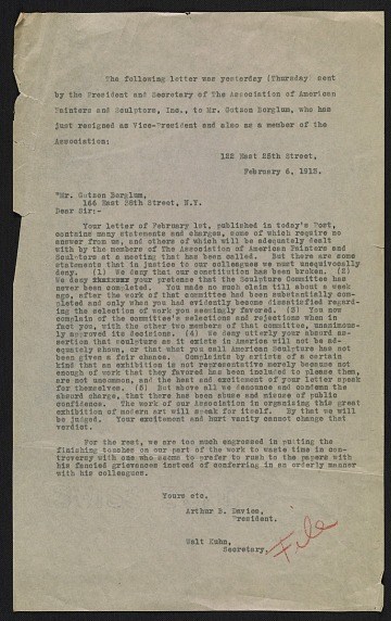 thumbnail image for File copy of Arthur B. (Arthur Bowen) Davies and Walt Kuhn letter to Gutzon Borglum