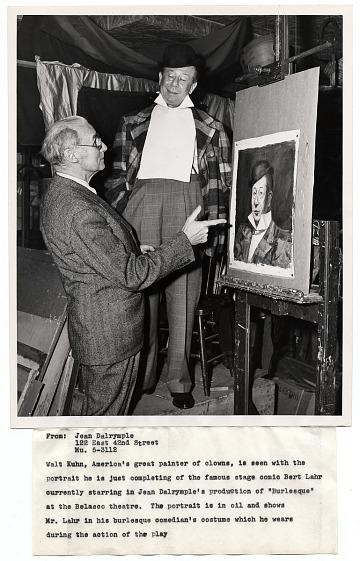 thumbnail image for Walt Kuhn with model, actor Bert Lahr