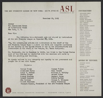 thumbnail image for Art Students League instructors letter of reference for Yasuo Kuniyoshi to the Associated Press