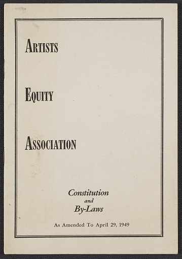 thumbnail image for Artists Equity Association constitution and by-laws