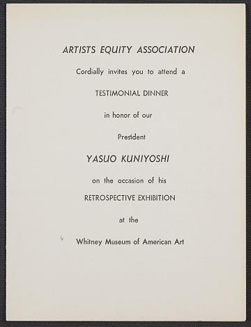 thumbnail image for Artists Equity Association invitation to Yasuo Kuniyoshi testimonial dinner