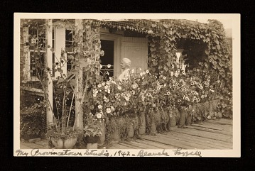 thumbnail image for Blanche Lazzell on her porch of her Provincetown studio