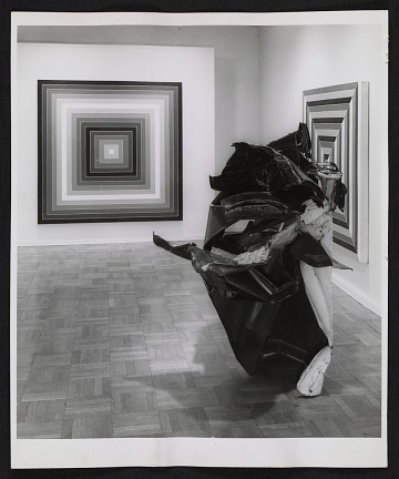 thumbnail image for Installation view of the <em>John Chamberlain and Frank Stella</em> exhibition at the Leo Castelli Gallery