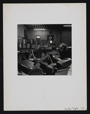 thumbnail image for Frank Stella with cat in his studio