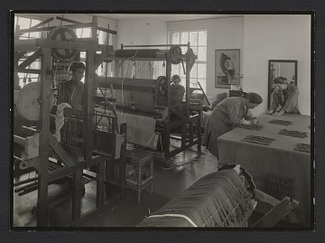 thumbnail image for Dorothy Liebes in the weaving studio