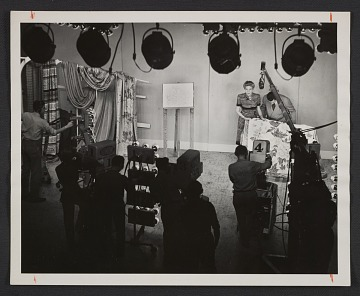 thumbnail image for Dorothy Liebes on the set of a television show