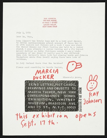 thumbnail image for Ray Johnson mail art to Dr. Frye and Lucy Lippard