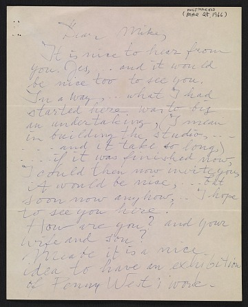 thumbnail image for Willem de Kooning letter to Michael Loew
