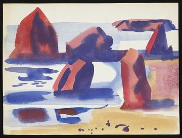 thumbnail image for Erle Loran watercolor of rocks in the ocean