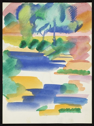 thumbnail image for Erle Loran watercolor landscape of water and trees