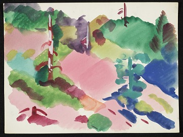 thumbnail image for Erle Loran watercolor landscape with hills and trees