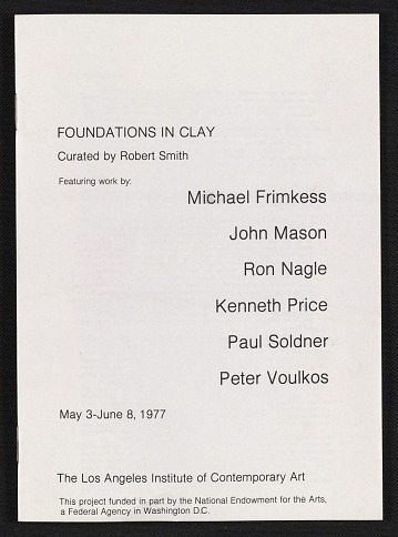 thumbnail image for Los Angeles Institute of Contemporary Art exhibit catalog for <em>Foundations in Clay</em>