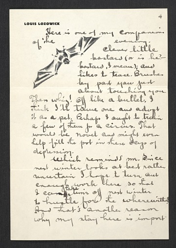 thumbnail image for Louis Lozowick, Bolton Landing, N.Y. letter to Adele Lozowick