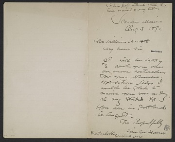 thumbnail image for Winslow Homer, Scarborough, ME letter to William Macbeth, New York, N.Y.