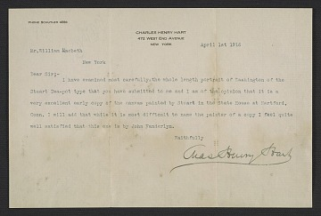 thumbnail image for Charles Henry Hart, New York, N.Y. letter to William Macbeth, New York, N.Y.