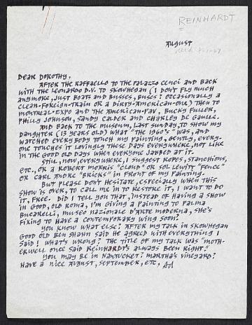 thumbnail image for Ad Reinhardt letter to Dorothy Miller