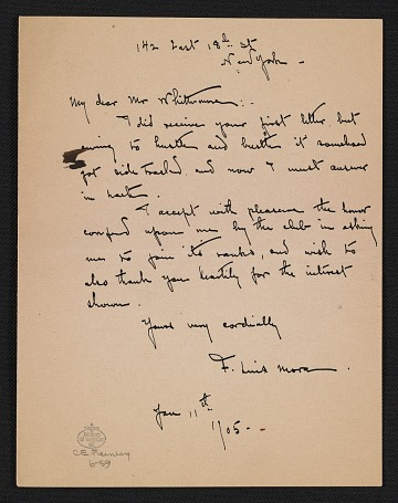 thumbnail image for F. Luis Mora letter to William John Whittemore
