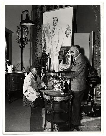 thumbnail image for Ivan and Malvin Albright, working on a painting for the film <em>The picture of Dorian Gray</em>