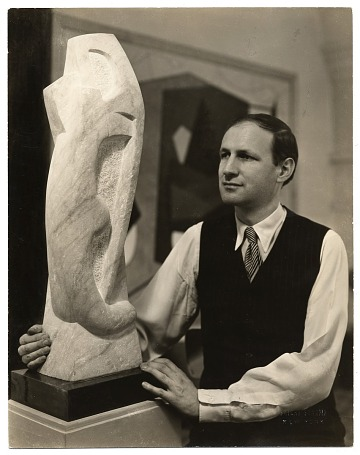 thumbnail image for George L. K. Morris with sculpture