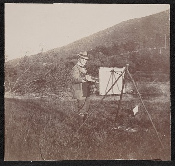 thumbnail image for Unidentified member of Mosler family painting outside