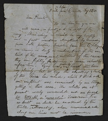 thumbnail image for Henry Mosler letter to his parents, Gustave and Sophie Mosler