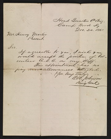 thumbnail image for Richard W. Johnson letter to Henry Mosler