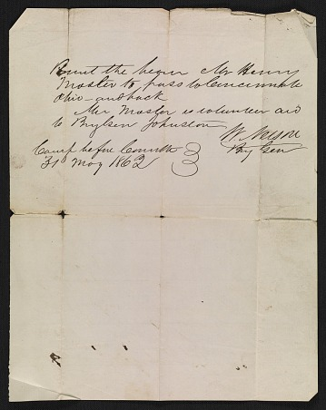 thumbnail image for Travel permit for Henry Mosler