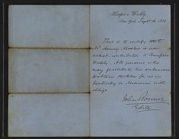 thumbnail image for John Bonner letter of introduction for Henry Mosler
