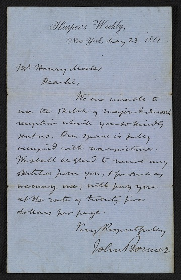 thumbnail image for John Bonner letter to Henry Mosler