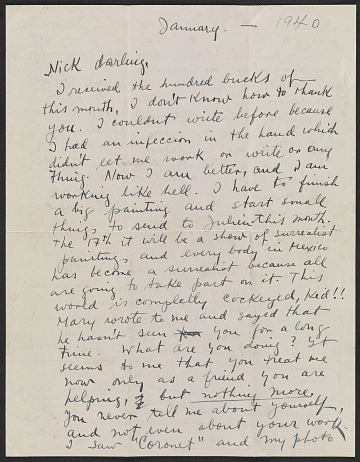 thumbnail image for Frida Kahlo, Coyoacan, Mexico letter to Nickolas Muray, New York, N.Y.