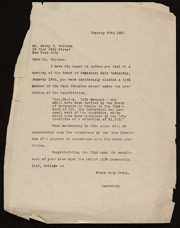 thumbnail image for National Arts Club (New York, N.Y.) letter to Harry Franklin Waltmann, New York, N.Y.