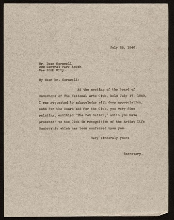 thumbnail image for National Arts Club (New York, N.Y.) letter to Dean Cornwell, New York, N.Y.