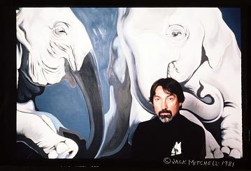 thumbnail image for Lowell Nesbitt with his artwork