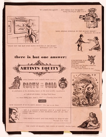 thumbnail image for Artists Equity Ball advertisement and program of Artists Equity Association meeting