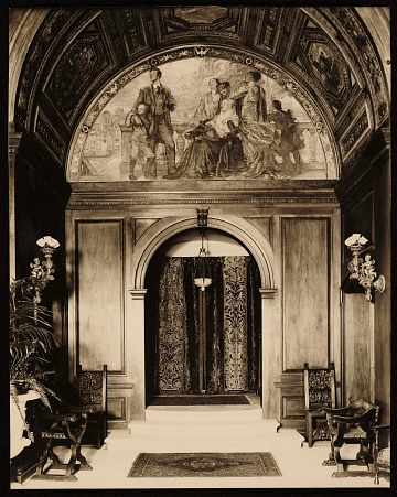 thumbnail image for Hall of Charlton Yarnall's house with Violet Oakley mural <em>Man and science</em>