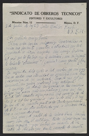 thumbnail image for Diego Rivera letter to Walter Pach
