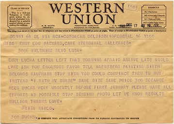 thumbnail image for Frida Kahlo telegram to Emmy Lou Packard