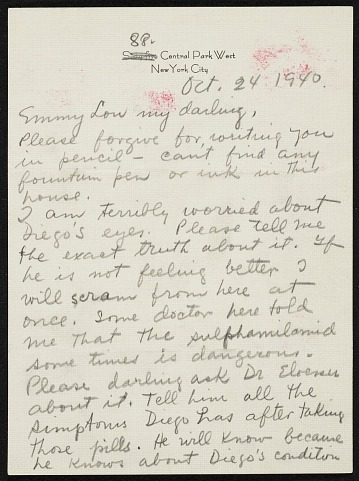 thumbnail image for Frida Kahlo, New York, New York letter to Emmy Lou Packard, San Francisco, California