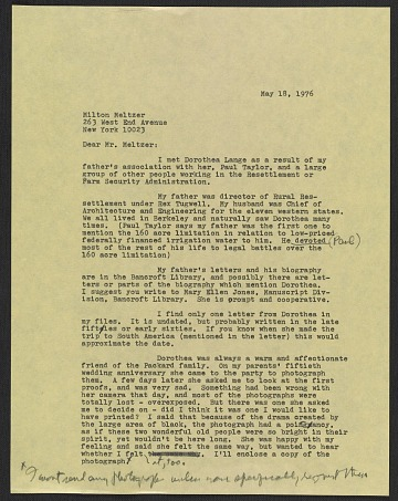 thumbnail image for Emmy Lou Packard draft letter to Milton Meltzer, New York, NY