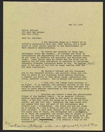 thumbnail image for Emmy Lou Packard draft letter to Milton Meltzer, New York, New York
