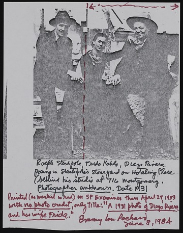 thumbnail image for Note about photograph of Ralph Stackpole with Diego Rivera and Frida Kahlo