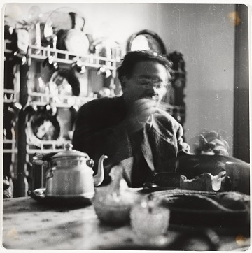 thumbnail image for Photograph of Diego Rivera eating at a table