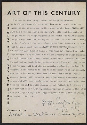 thumbnail image for Contract between Betty Parsons and Peggy Guggenheim regarding representation of Jackson Pollock