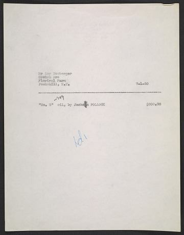 thumbnail image for Sales invoice for No. 8 painting by Jackson Pollock