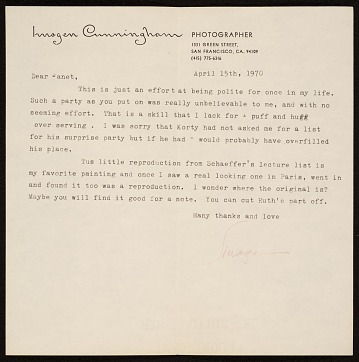 thumbnail image for Imogen Cunningham, San Francisco, Calif. letter to Janet Partridge