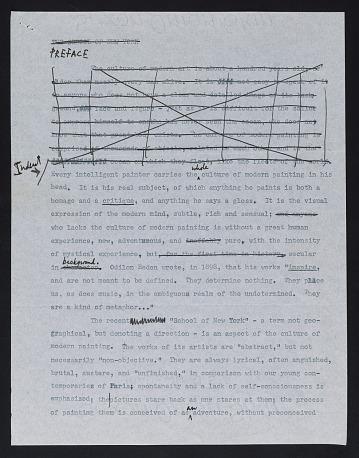 thumbnail image for Robert Motherwell draft for <em>The school of New York</em>
