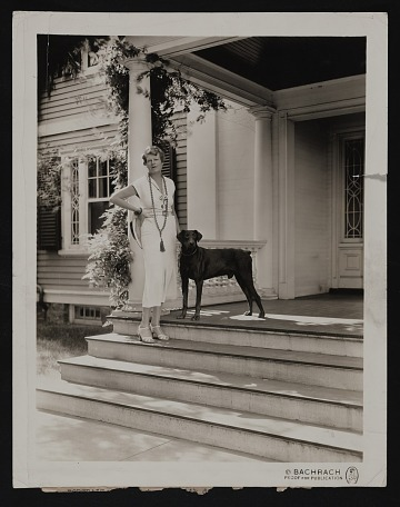 thumbnail image for Publication proof print of Jane Peterson with dog, at home in Ipswich, Massachusetts