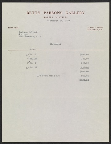 thumbnail image for Statement sent to Jackson Pollock detailing his works that sold from the Betty Parsons Gallery