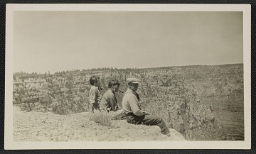 thumbnail image for Photograph of Jackson, Sande, and LeRoy Pollock at the Grand Canyon